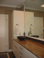 Granite vanity top, tile backsplash & vessel sink