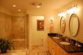Houston Memorial bath clear sealed maple cabinets