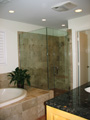 Houston Memorial bath with frameless glass shower