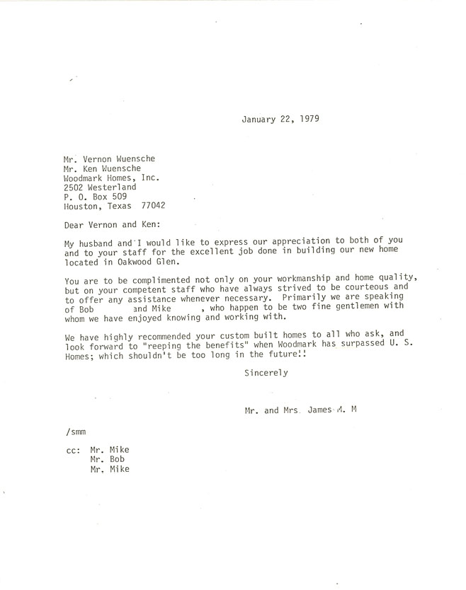 Houston custom home 1979 testamonial letter
