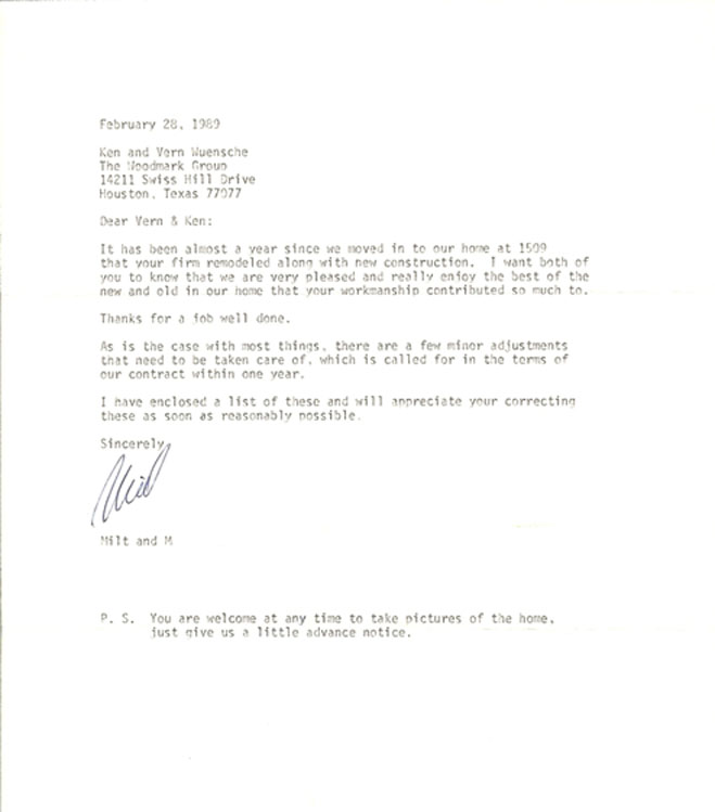 Houston kitchen 1989 testimonial letter