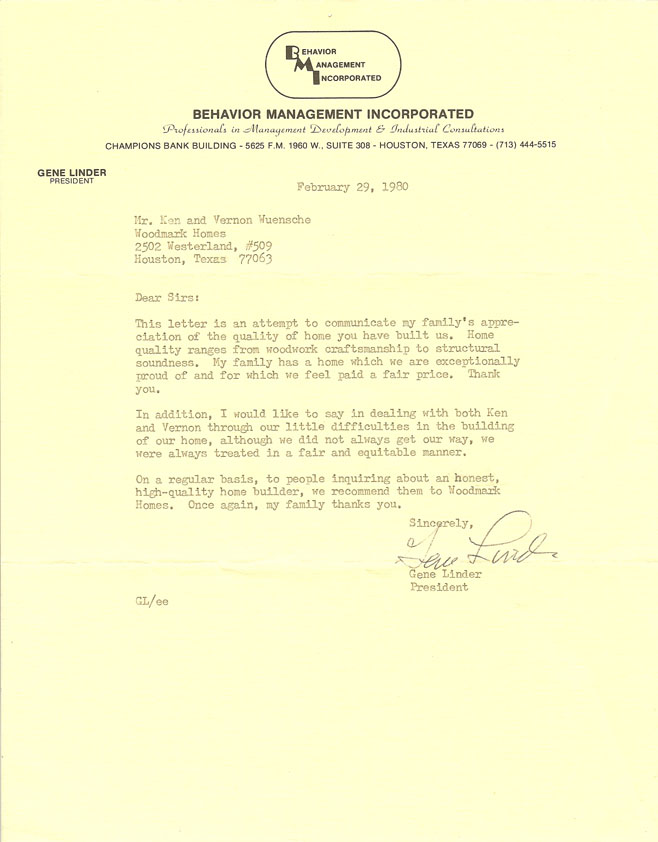 Houston customized home 1980 testimonial letter