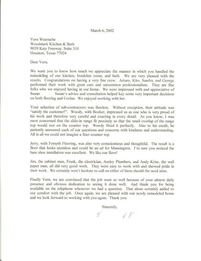 Houston Memorial kitchen 2002 testimonial letter