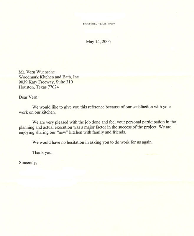 Houston Memorial kitchen 2005 testimonial letter