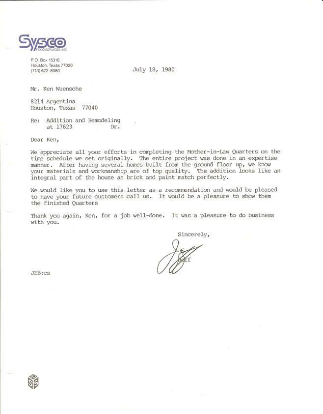 Houston kitchen 1980 testiimonial letter