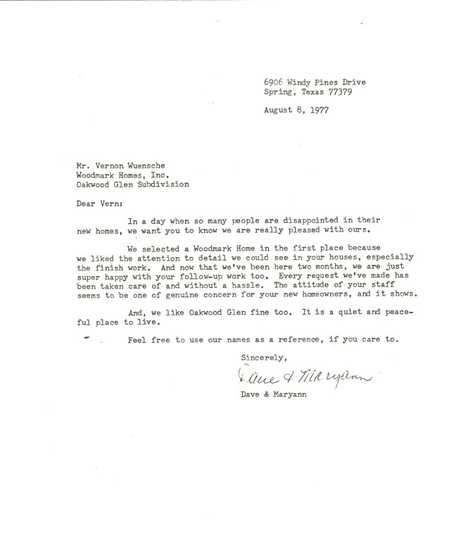 Houston customized home 1977 testimonial letter